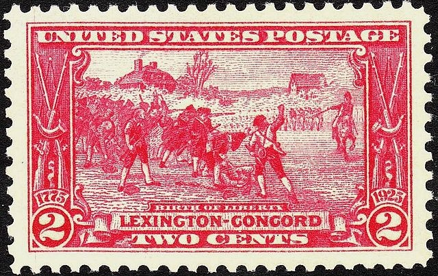 Postcard depicting the first battle of the American Revolution. Public Domain, via Wikimedia Commons