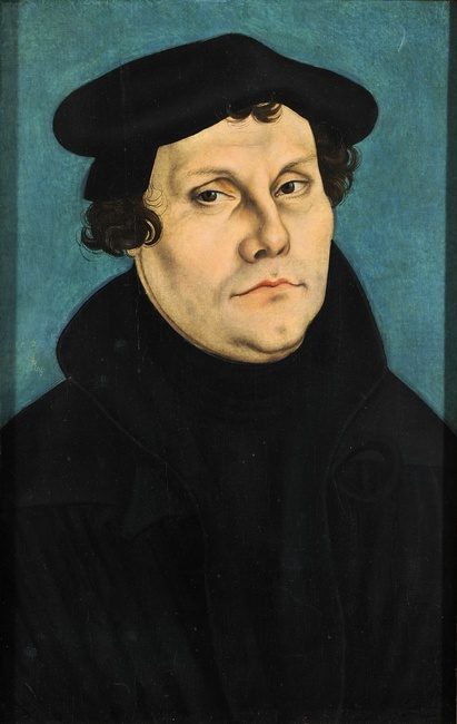 Portrait of Martin Luther by Lucas Cranach the Elder [Public domain], via Wikimedia Commons