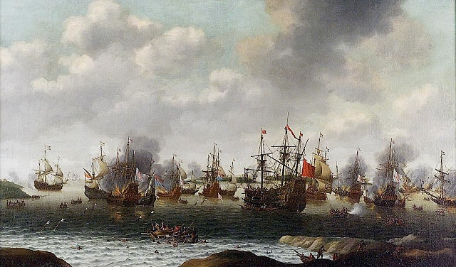 """Attack on the Medway"" during the Anglo-Dutch wars by Pieter Cornelisz. van Soest, Royal Greenwich Museums, Public Domain, via Wikimedia Commons"