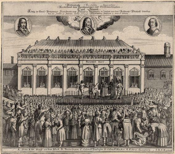 Contemporary German print depicting Charles I's beheading, Public Domain, via Wikimedia Commons