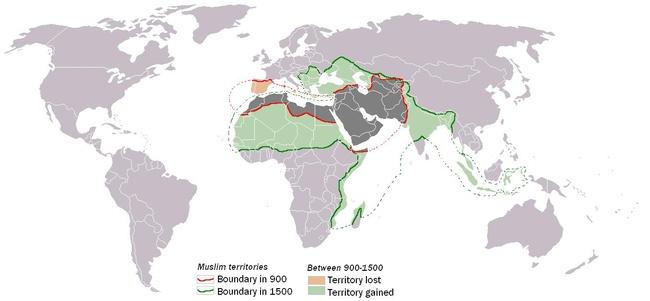 Muslim World 900-1500. CC BY 3.0, https://en.wikipedia.org/w/index.php?curid=15780677