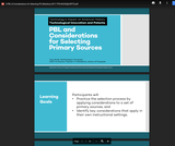 Project Based Learning and Consideration for Selecting Primary Sources