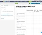 Creativity Checklist —Middle School