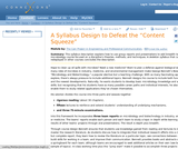 """A Syllabus Design to Defeat the """"Content Squeeze"""""""