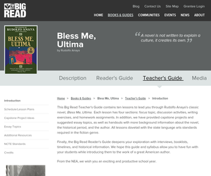 bless me ultima by rudolfo anaya teacher s guide oer commons view resource