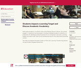 Students Unpack a Learning Target and Discuss Academic Vocabulary