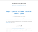 The Programming Historian 2: Output Keywords in Context in HTML File