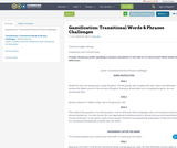 Gamification: Transitional Words & Phrases Challenges