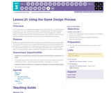 CS Discoveries 2019-2020: Interactive Animations and Games Lesson 3.21: Using the Game Design Process