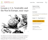 Lesson 3: U.S. Neutrality and the War in Europe, 1939-1940