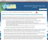 ADHD: Current Research and Teaching Strategies for Reading and Writing