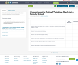 Commitment to Critical Thinking Checklist —Middle School