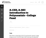 A-CED, A-REI Introduction to Polynomials - College Fund