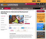 Introduction to International Development Planning, Fall 2011
