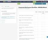 Creativity Evaluation Checklist —Middle School