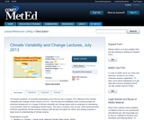 Climate Variability and Change Lectures, July 2013