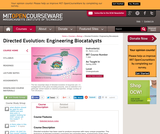 Directed Evolution: Engineering Biocatalysts, Spring 2008