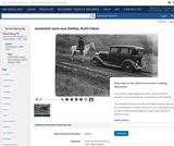 Automobile meets horse near Halliday, North Dakota, 1933
