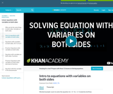 Intro to equations with variables on both sides