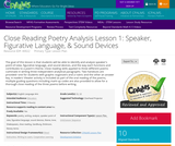 Close Reading Poetry Analysis Lesson 1: Speaker, Figurative Language, & Sound Devices