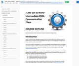 """""""Let's Get to Work!"""" Intermediate ESOL  Communication Class Outline"""