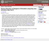 Physics Educators as Designers of Simulation using Easy Java Simulation ( Ejs ) Part 2*