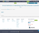 Critical Definitions in Marketing Cost Price Consumer Customer