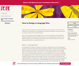 How to Design a Language Dive