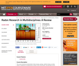Radon Research in Multidisciplines: A Review, January (IAP) 2007