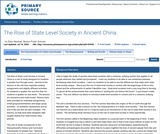 The Rise of State Level Society in Ancient China