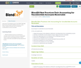 BlendEd Best Practices Unit: Accounting for Uncollectible Accounts Receivable