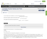 Complex Fourier Series and Their Properties