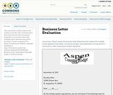 Business Letter Evaluation
