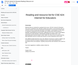 CSE 624: Internet for Educators Reading & Resource List