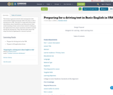 Preparing for a driving test in Basic English in USA