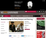 Research Design for Policy Analysis and Planning, Fall 2007