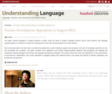 Teacher Development Appropriate to Support ELLs