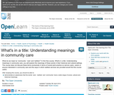 What's in a Title: Understanding Meanings in Community Care