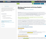 Renting an Apartment and Living- English Foundation