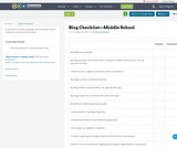 Blog Checklist—Middle School