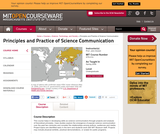 Principles and Practice of Science Communication, Spring 2006