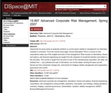 Advanced Corporate Risk Management, Spring 2007