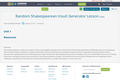 Random Shakespearean Insult Generator Lesson