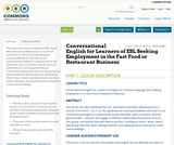 Conversational English for Learners of ESL Seeking Employment in the Fast Food or Restaurant Business