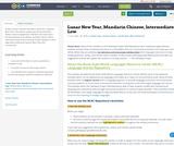 Lunar New Year, Mandarin Chinese, Intermediate-Low
