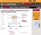 Frameworks and Models in Engineering Systems / Engineering System Design, Spring 2007