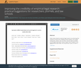 Improving the credibility of empirical legal research: practical suggestions for researchers, journals, and law schools