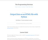 The Programming Historian 2: Output Data as an HTML File