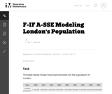 F-IF A-SSE Modeling London's Population