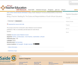 Being a Teacher: Reading 9b. The Duties and Responsibilities of South African Educators